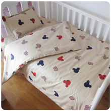 Promotion! 3PCS Kitty Mickey Cotton Baby Crib Bedding Set Baby Bed Linen ,(Duvet Cover+Sheet+Pillowcase)