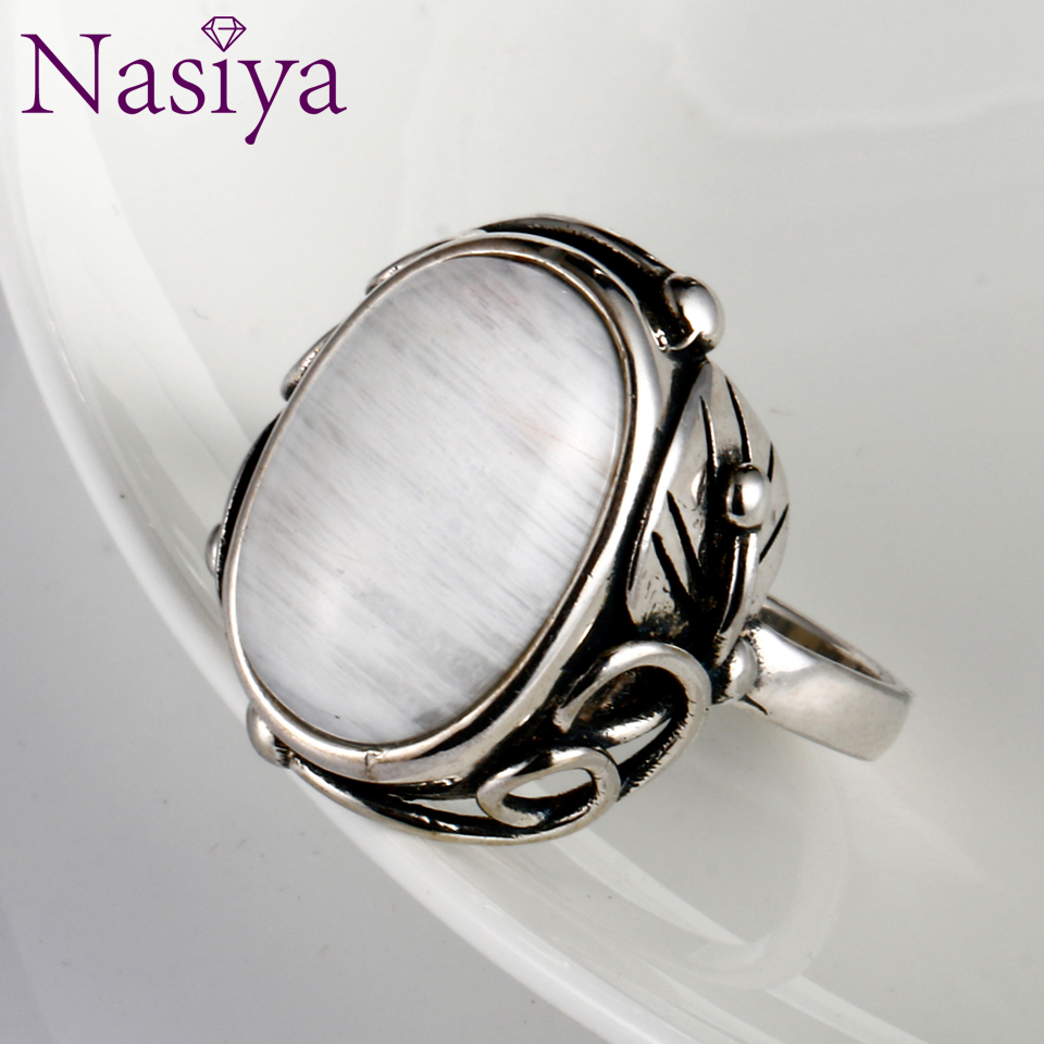 Vintage Finger Rings For Men Women Oval 11x17MM Big Stones 925 Silver Jewelry Ring Party Weeding Anniversary Engagement Gifts