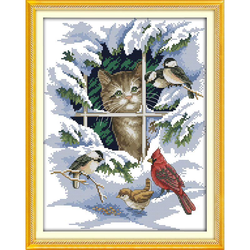 Everlasting love Christmas Cat and birds Chinese cross stitch kits Ecological cotton stamped 11CT 14CT New store sales promotion