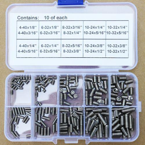 200Pcs Stainless Steel 4-40 to 10-32 Allen Head Hex Socket Screws Assortment Kit 200pcs 304ss m3 m4 m5 m6 cone point allen head hex socket screws assortment kit