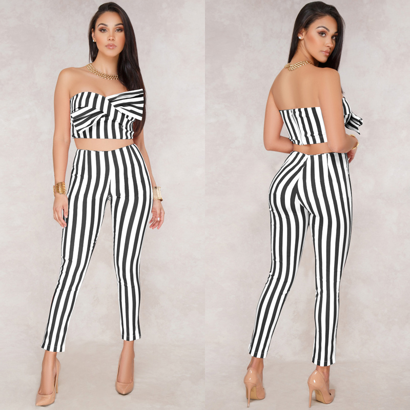 3e99ce5163d Sexy Matching TWO PIECE SET Outfits Ladies Tube top Strapless Two-Piece Suit  For Women Pants Stripe 2 Pieces Twin Set Ensemble