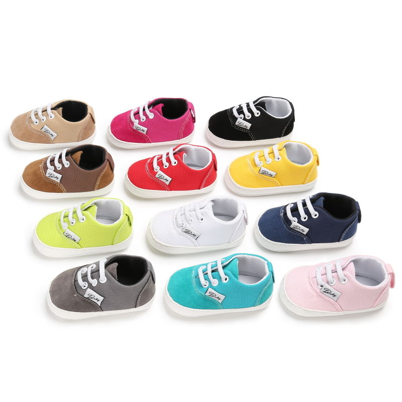 Handmade Candy Color Baby Casual Canvas Sports Shoes Baby Boy Girl Infant Cross tied Lace up