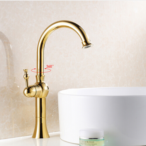New Arrivals High Brass Gold Plated Basin Faucet Mixer Water Tap ...