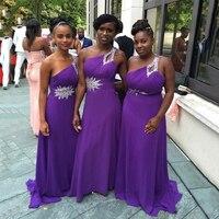 Одно плечо Фиолетовый шифон Длинные платья невесты плюс Размеры бисером Pleat Line фрейлин платья для Свадебная вечеринка