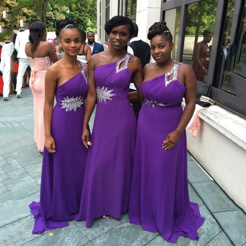 One Shoulder Purple Chiffon Long Bridesmaid Dresses Plus Size Beaded Pleat A-line Maids of Honor Dresses for Wedding Party