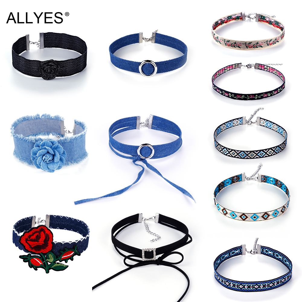 ALLYES Gothic Velvet Denim Choker Necklace Jewelry For Women 2017 Trendy Bow Crystal Statement Collar Necklaces