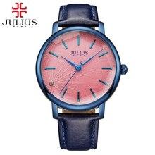 Новые женщины одеваются моды случайные кварц круглый большой простой часы натуральная кожа сталь хороший подарок часы Люксовый бренд Юлий 888 унисекс