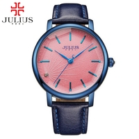 New Women Dress Fashion Casual Quartz Round Big Simple Watch Real Leather Steel Good Gift Watches