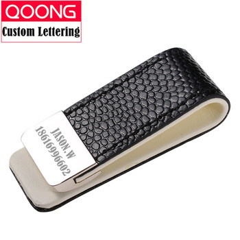 QOONG Money Clip Cash Clamp Holder Portable Leather Slim Money Clip Wallet Purse for Pocket Metal Money Holder Bill Clip ML1-046 qoong stainless steel double sided metal money clip fashion simple silver black dollar cash clamp holder wallet for men women
