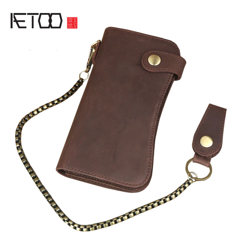 AETOO Crazy horse phone wallet men long section of the leather multi-function high-capacity multi-card bit young men personality 1 black pu leather ladies long section of ultra thin magnetic buckle multi card wallet wallet size about 19 9 5 2cm