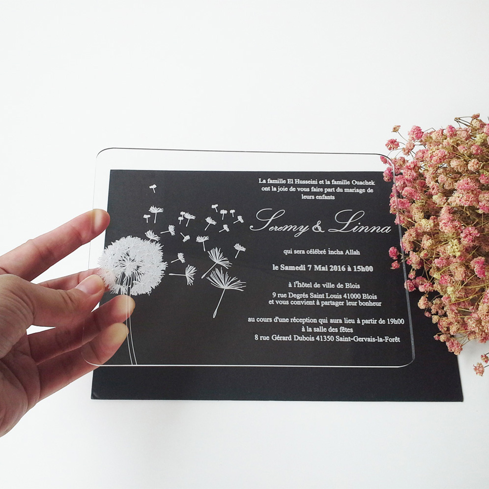 Sample order for 5*7inch dandelion elements rectangle shape clear acrylic wedding invitation card sample page