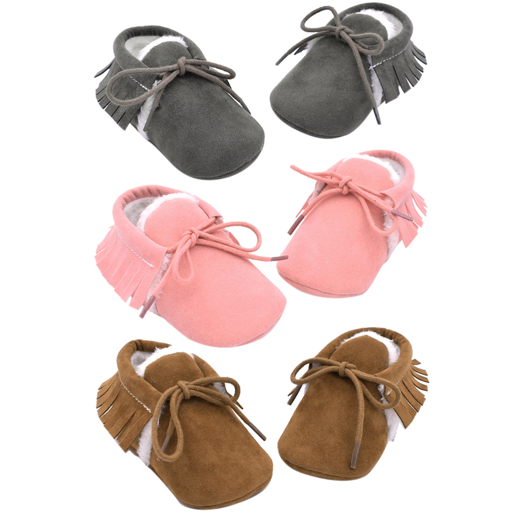 Fashion Baby Boys Girls Autumn Winter Warm Shoes First Walkers Tassel Decoration Lace-up Infant Soft Sole Shoes Prewalkers