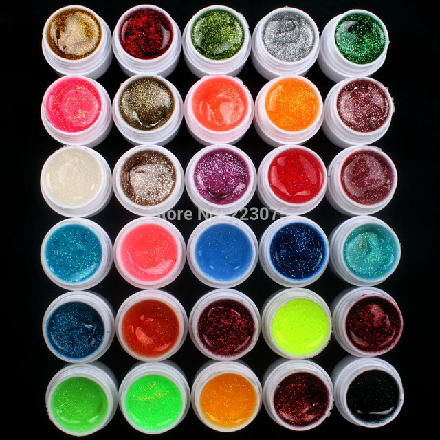 New DIY Professional 30 PCS Glitter Mix Color UV Builder Gel Nail Art Tips