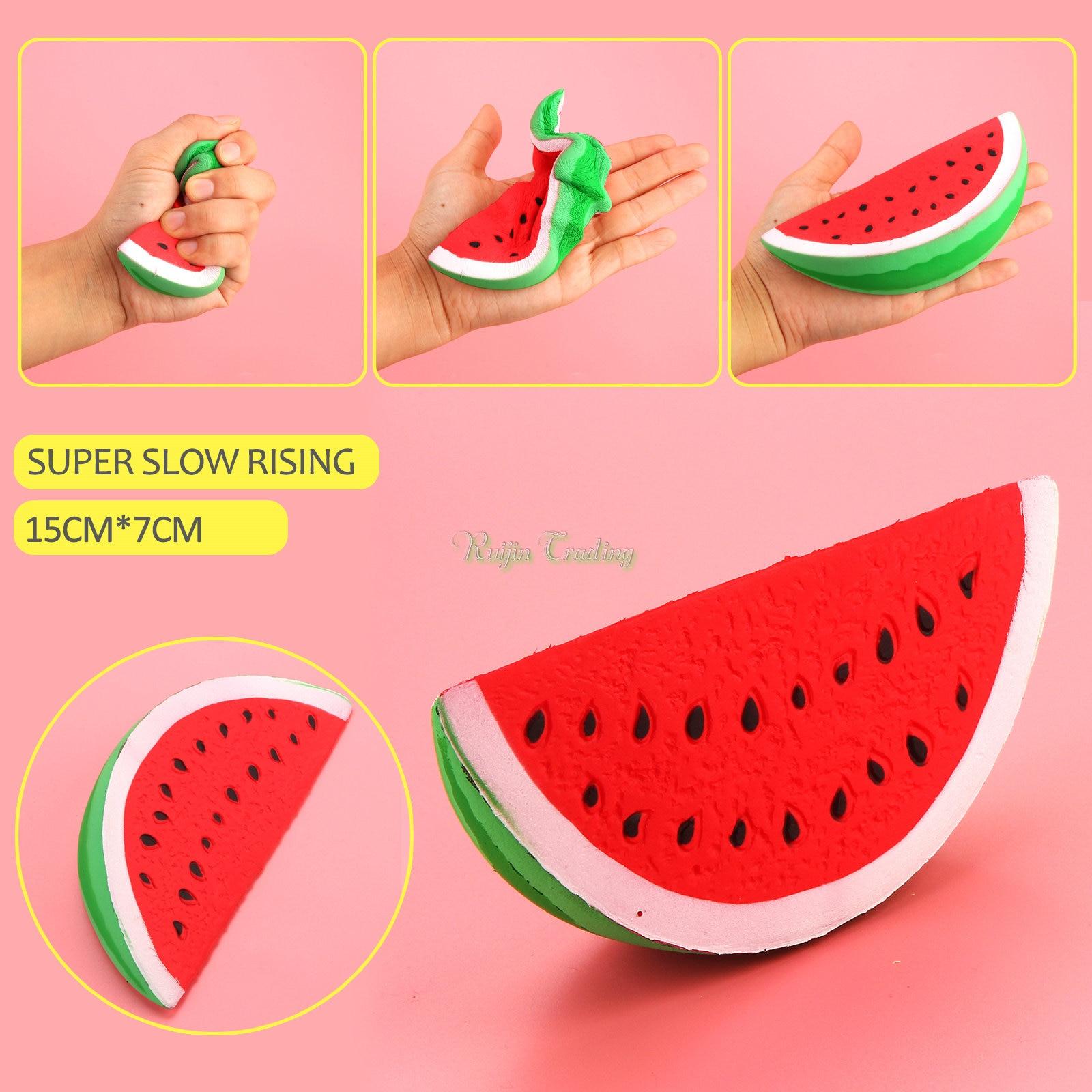 bilder für 10 Teile/los Jumbo Kawaii 15 CM Squishy Wassermelone Super Langsam Steigenden Squeeze Stretch Duftenden Brot Kuchen Kind Spielzeug Geschenk Telefon Straps
