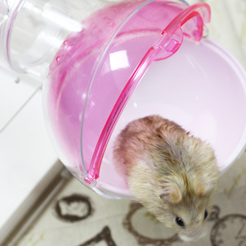 15*13*11cm Plastic Pet Hamsters Cage Ball Shape Hamster Guinea Pig Bathroom Pet Toilet Bathtub With Pipeline Pet Accessories