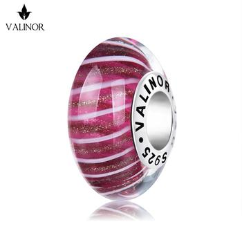 Video! Rose red golden flash murano glass beads charms 925 Sterling Silver fit Bracelets Jewelry Trendy JKLL012