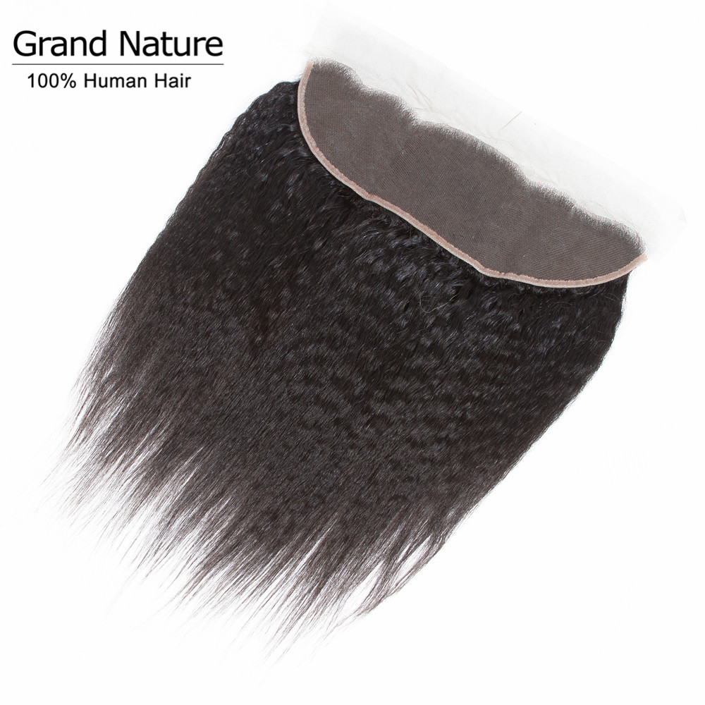 Brazilian Kinky Straight With Frontal Closure Ear To Ear Lace Frontall Closure With Baby Hair Yaki Straight Remy Human Hair
