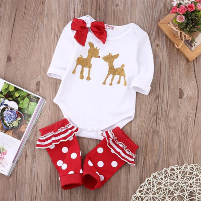 Newborn Xmas my first Christmas Baby Bodysuits Boys Girls Clothes Roupas Infantis Cute Reindeer Kids Christmas Clothing Gift
