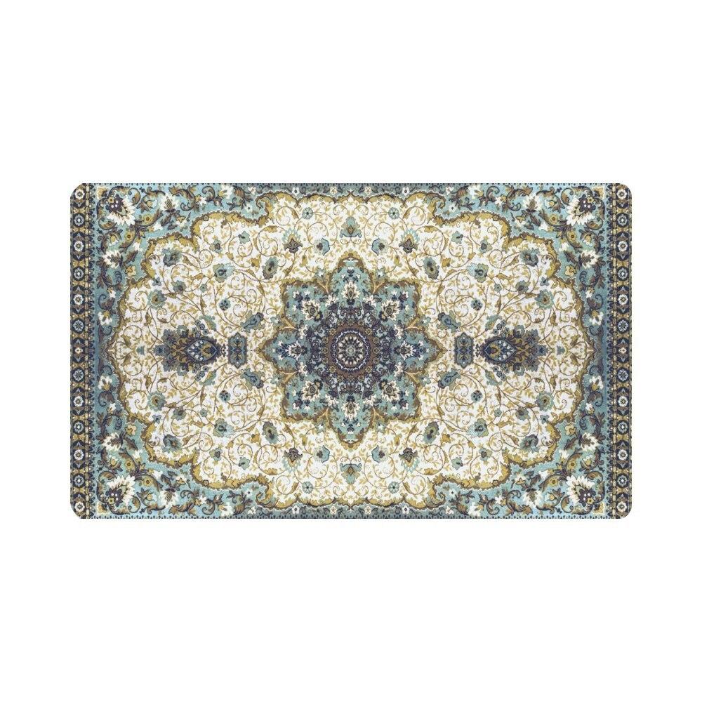 Abstract Turquoise Mandala Floral Doormat Indoor Outdoor Entrance Rug Floor Mats Shoe Scraper Door Mat Non-Slip Home Decor