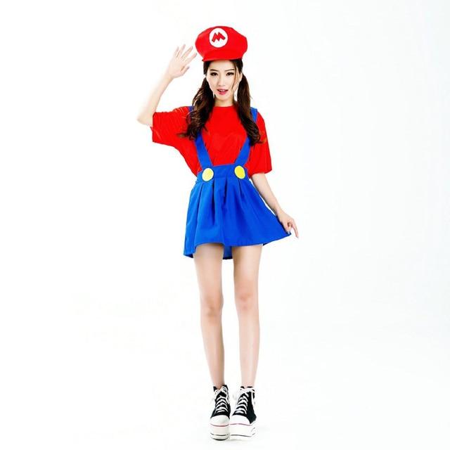 2015 Nueva Halloween Adulto Mujeres Cosplay Super Mario Luigi Brothers  Plumber Mujeres Fiesta de Disfraces Ropa 55ce53372da1