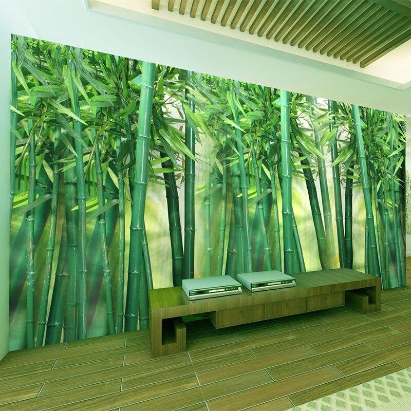 Expressief Custom Muurschilderingen Behang 3d Groene Bamboe Forest Photo Muur Doek Woonkamer Tv Sofa Achtergrond Muurschildering Papel De Parede 3 D