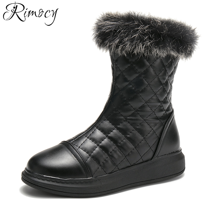 Rimocy waterproof snow boots women winter fashion thick fur warm womens leather platform ankle boots ladies flats cotton shoes odetina warm cotton snow boots black over the knee long boots womens thigh high boots waterproof fashion ladies winter shoes