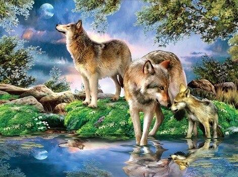 다이아몬드 모자이크 전체 광장 다이아몬드 자수 구슬 늑대 가족 숲 달 동물 다이아몬드 크로스 스티치 세트 미완성 그림