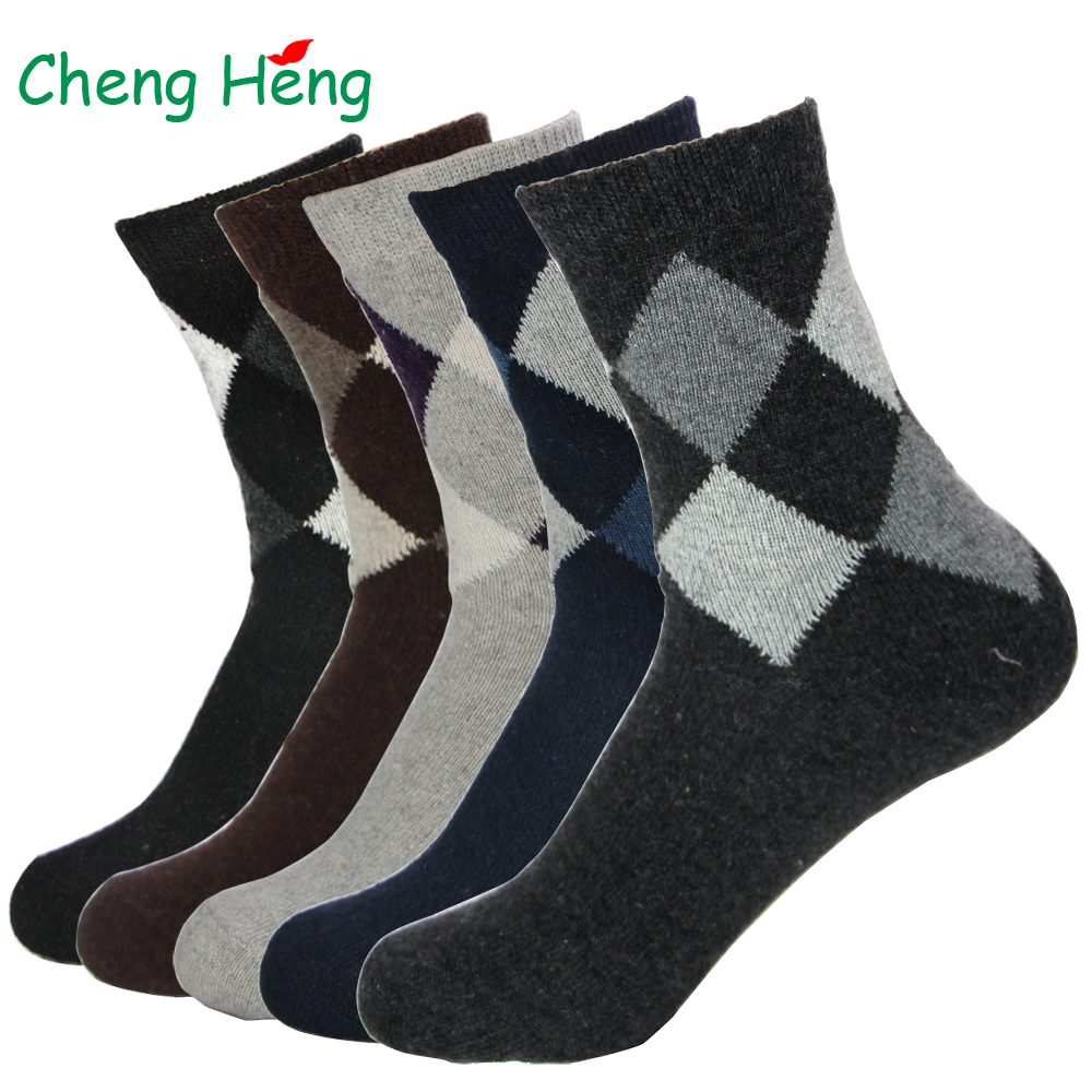 Rabbit Wool Quality Men Spring Winter Warm Socks Deodorant Breathable Soft New Business Casual Double Rhombus Pattern Meias Sock