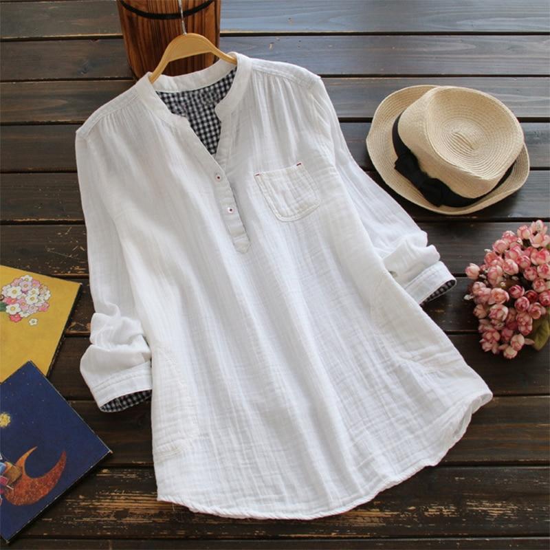 ZANZEA elegante mujer verano sólido cuello pico manga larga Blusas botones casuales Feminina Blusas algodón Lino camisas sueltas de talla grande
