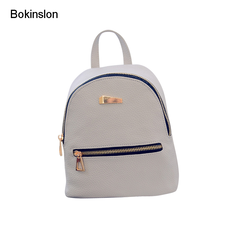 Bokinslon PU Leather Backpack Woman College Wind Simple Travel Bags For Girls Solid Color Popular Ladeis Backpack Bags