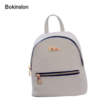 Bokinslon PU Leather Backpack Woman College Wind Simple Travel Bags For Girls So