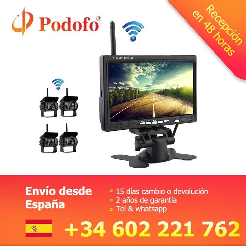 Podofo sans fil 4 caméras de sauvegarde IR Vision nocturne étanche avec 7