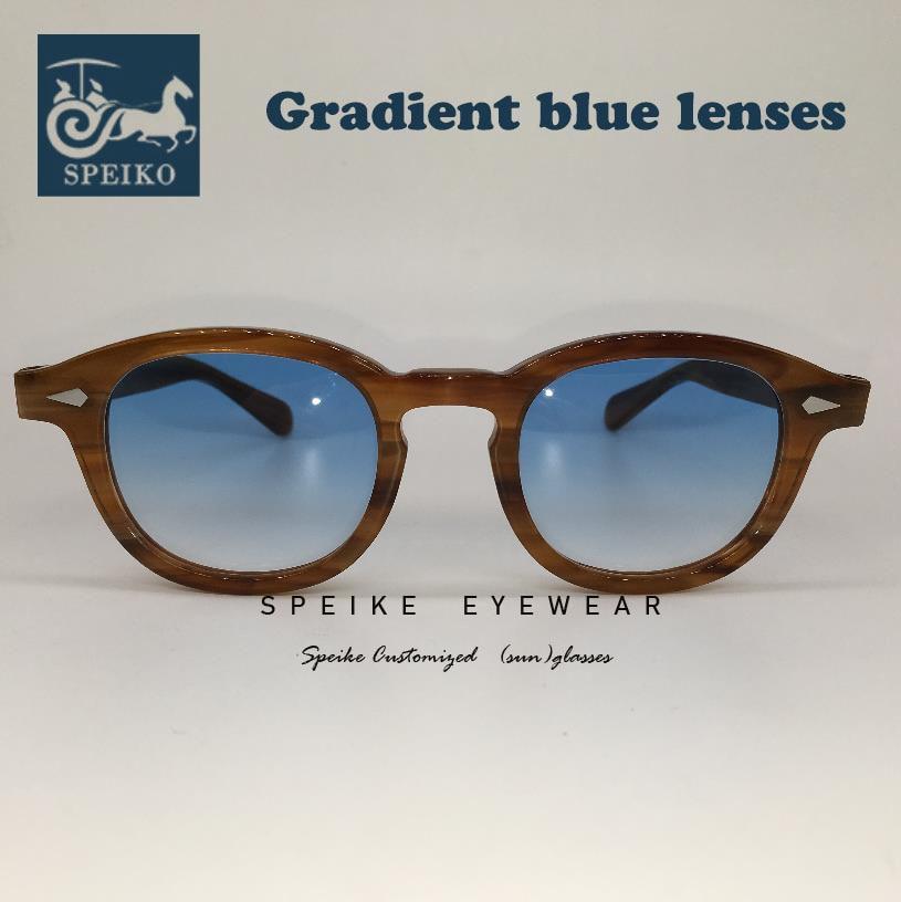 SPEIKE Customized Vintage Blue Lenses Sunglasses Johnny Depp Lemtosh Style Retro Night Visionglasses Can Be Myopia Sunglasses
