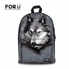 FORUDESIGNS 2017 Men's Travel Backpack 3D Animal Printing Cool Wolf Backpacks Men Kids Students Bagpack Boys Canvas School Bags
