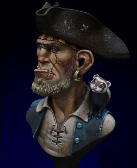 1/16 Resin Bust Pirate Not Assembled Uncolored