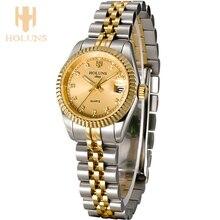 Luksusowe diament panie kwarcowe zegarki sport biznes zegarek ze stali nierdzewnej wodoodporny miłość prezent 2016 top sprzedaż mody holuns