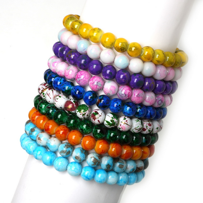 colorful millefiori glass dp com amazon strand beads bracelet