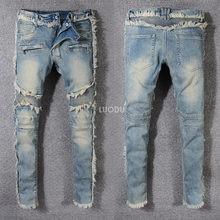9a42bf5fbc21 New France Style  8818  Men s Distressed Ribbed Slim Pants Tassel Blue Biker  Jeans Skinny Trousers Size 29-42