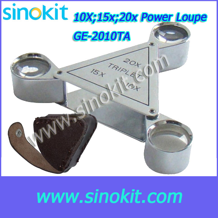 ФОТО Free Shipping 10x,15x,20x Magnification Power Jewelry three eyes Loupe - GE-2010TA