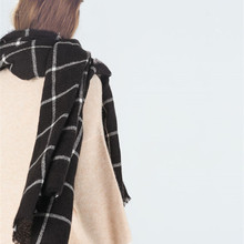 Red Black Scarf 200CM 100CM New Lady Women Blanket black white Plaid Cozy Checked Tartan Scarf