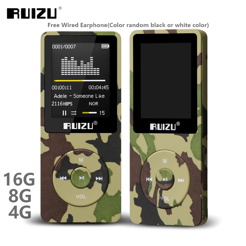 RUIZU X02 Ultrathin Mp3 Player Usb 4GB 8Gb 16GB Storage 1.8 Inch Screen Play 80h High Quality Radio Fm E-Book Music Player ruizu x09 portable mp3 music player 4gb for running