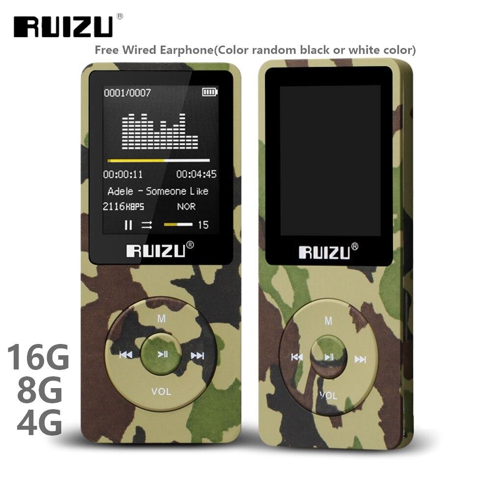 Ruizu x02 ultrafinos mp3 player usb 4 gb 8 gb 16 gb armazenamento 1.8 Polegada tela play 80h rádio de alta qualidade fm e-book leitor de música