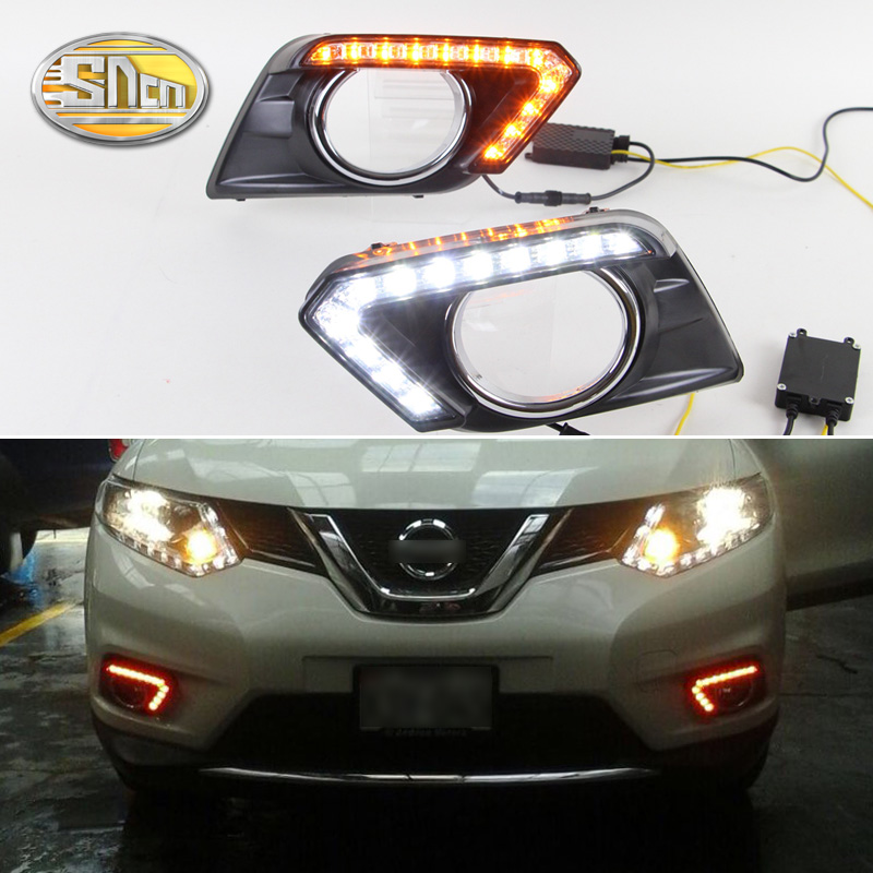For Nissan X-trail Xtrail T32 2014 2015 2016 Yellow Signal Function Relay Waterproof 12V Car DRL LED Daytime Running Light SNCN