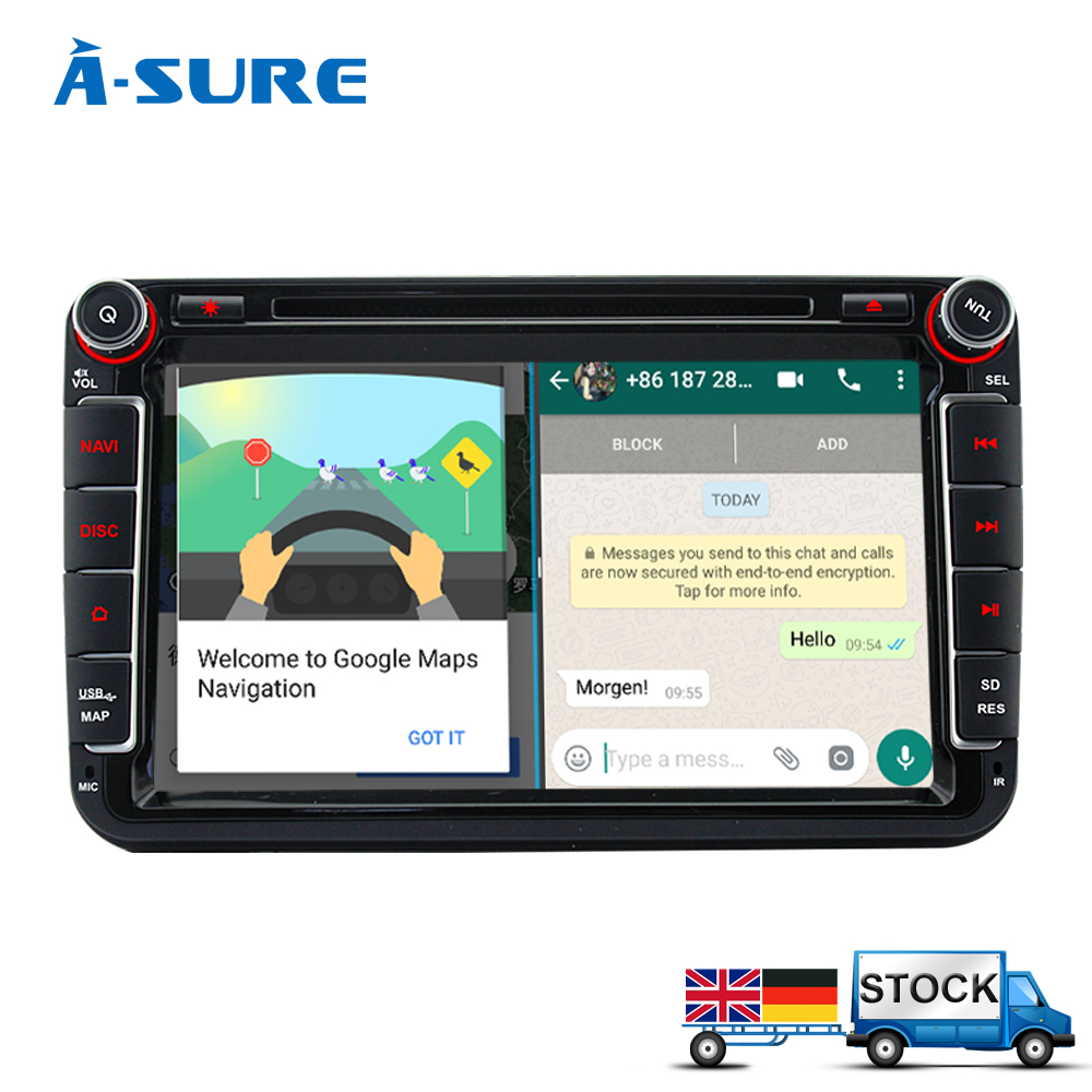 A-Sure on sale 8 Android 7.1 Car DVD player for Volkswagen VW Tiguan Polo Golf 5 6 Passat B6 Jetta Transporter T5 GPS DAB+