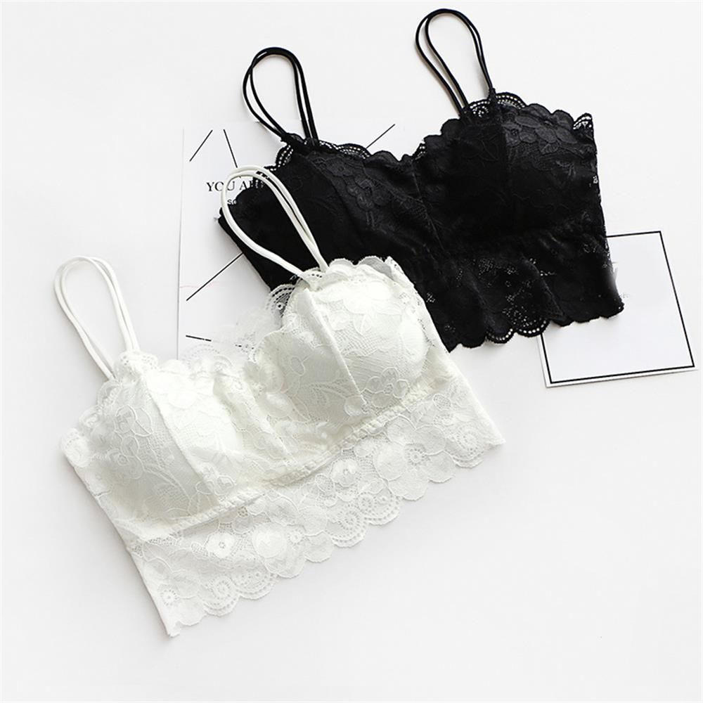 1PC Sexy Women V-Neck Vest Lace Floral Harness Hollow Camisole Bra Blouses Tank Tops Crop Top
