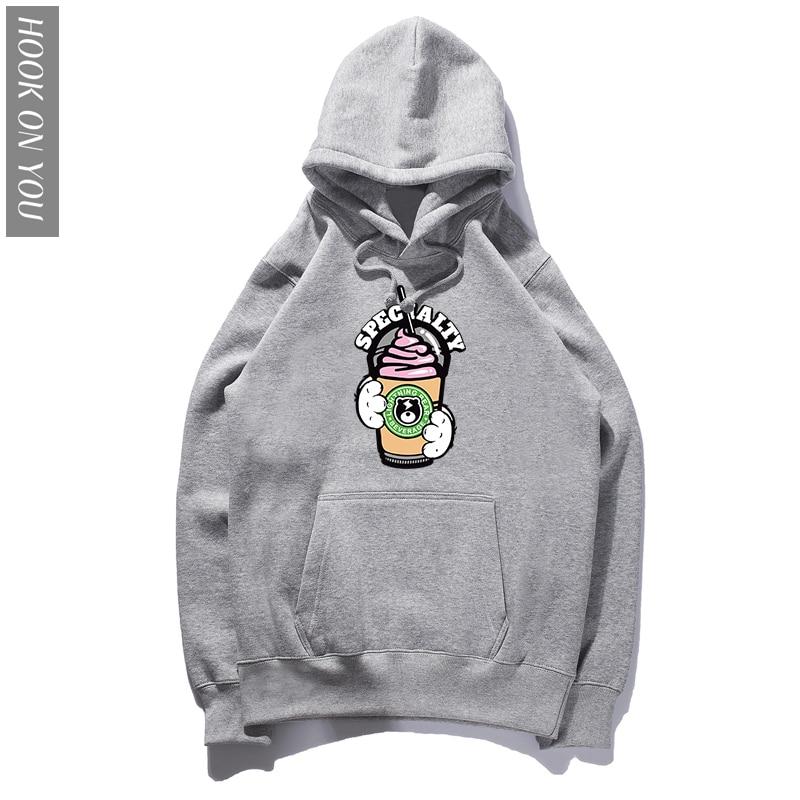 2018 Autumn new Harajuku men women Hoodie ice cream Korean style cotton loose crop tops kawaii Hoodies Sweatshirts Hooded