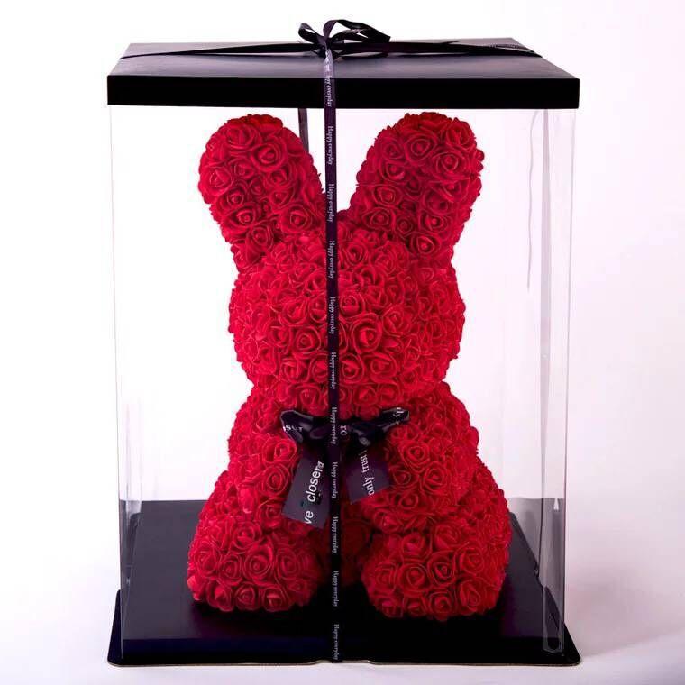 Valentine's Day Present Unburden Rabbit Rose Bear Everlasting Flower Foam Rose Girlfriend Birthday Gift Stuffed & Plush Animals