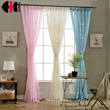 0efbaf7dab33 Bordado flor diseño acabado rústico tul Organza tela cortinas Floral Beige  rosa azul cortinas dormitorio WP001C