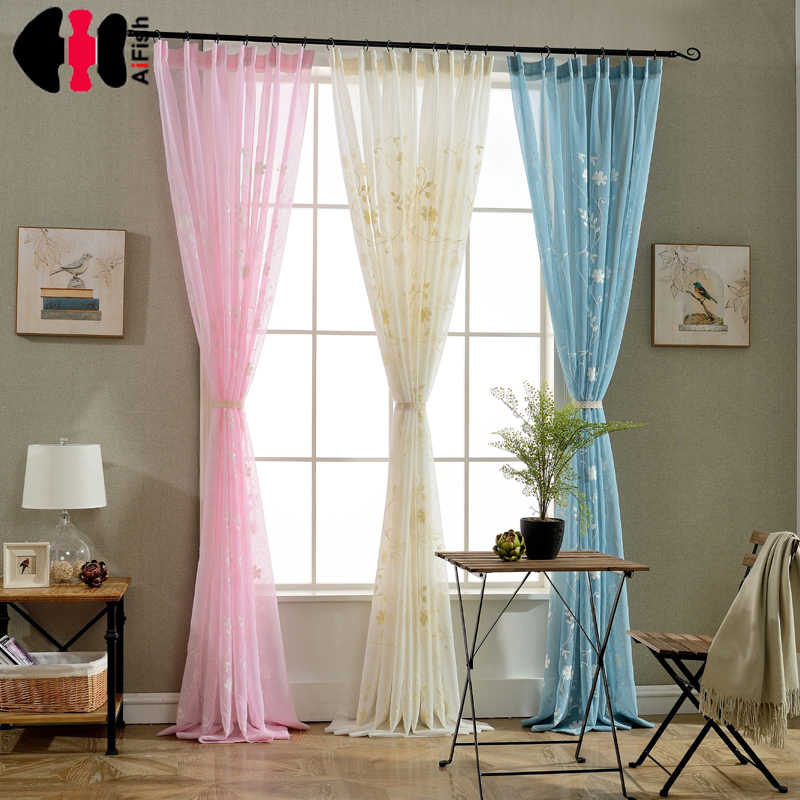 Embroidery Flower Design Finished Rustic Organza Tulle Fabric Sheer Curtains Floral Beige Pink Blue Curtains Bedroom WP001C