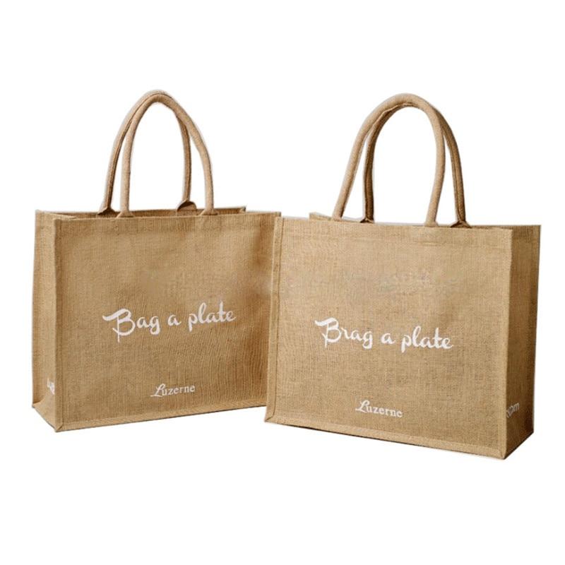 wholesale 500pcs lot custom printed logo reusable foldable Hessian shopping bags Burlap Jute Linen grocery tote